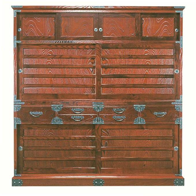 筑後民芸 幅168cm 幅168cm 蔵格子 水屋箪笥 食器棚 和風 引き戸