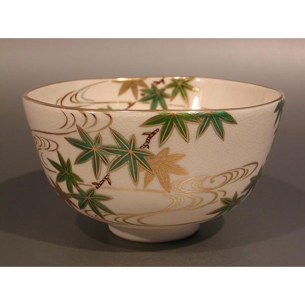 茶道具 抹茶茶碗 色絵 青楓画、京都 相模竜泉作