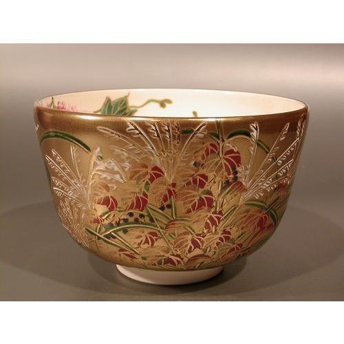 茶道具 抹茶茶碗 金地 秋草、京焼 伝統工芸士 加藤如水作