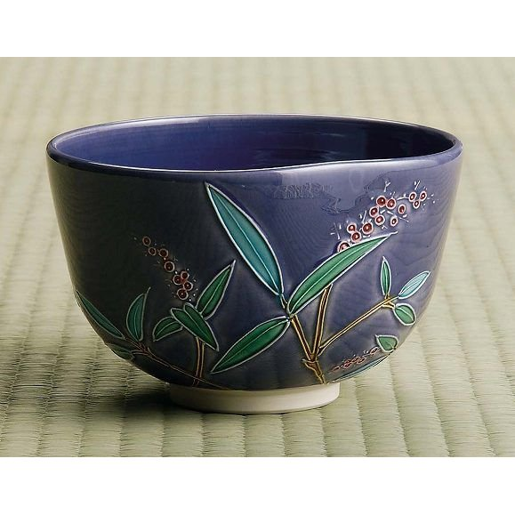 茶道具 抹茶茶碗 紺紫交趾 南天、京都 中村翠嵐作