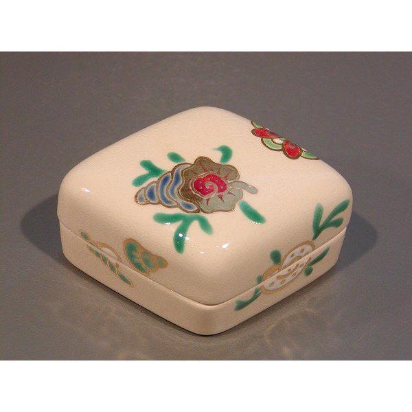 茶道具 香合 菱形 海松貝(みるがい)絵、 花蝶窯 手塚石雲作