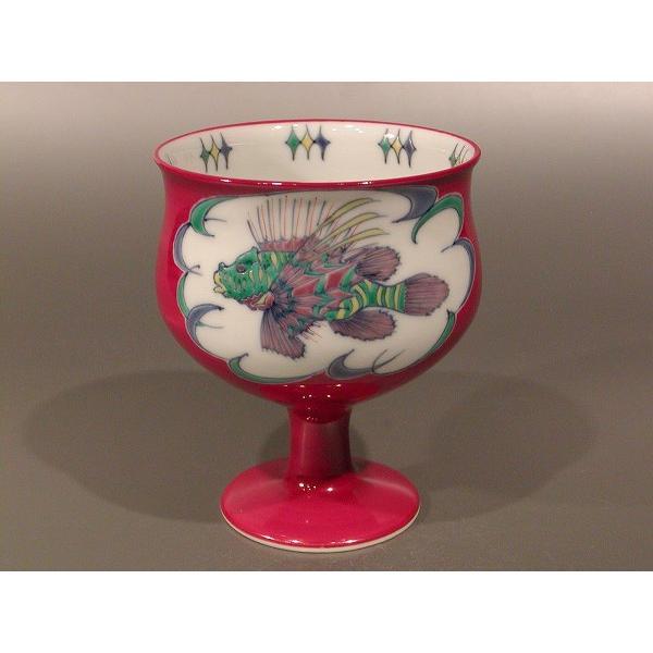 【美の器】高盃 ワイングラス 赤 京焼 豆彩 みのかさご絵、手塚 央作