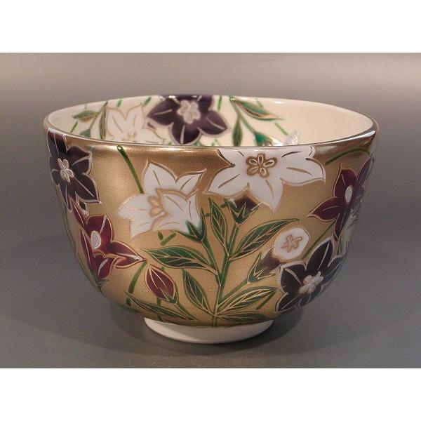 【 茶道具・抹茶茶碗 】茶碗 金地 桔梗(ききょう)、 京焼 伝統工芸士 加藤如水作