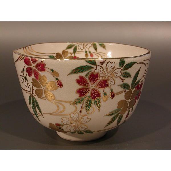 茶道具・抹茶茶碗 色絵 枝垂桜(しだれざくら)、 相模竜泉作
