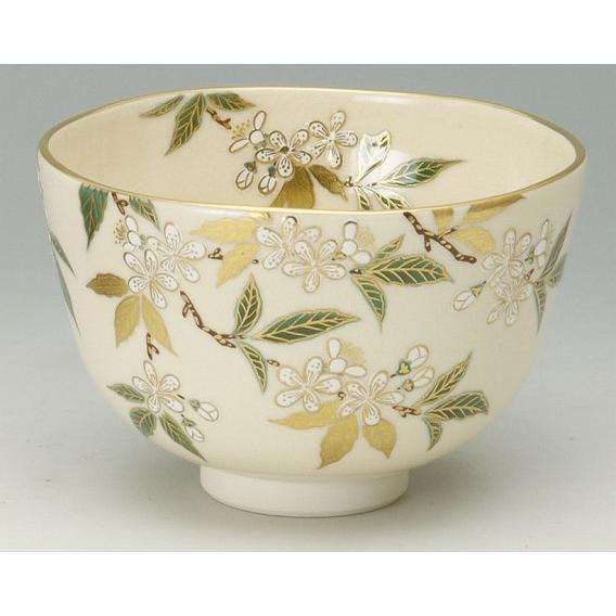 【 茶道具・抹茶茶碗 】茶碗 色絵 庭梅(輪生梅--りんしょうばい)、相模竜泉作