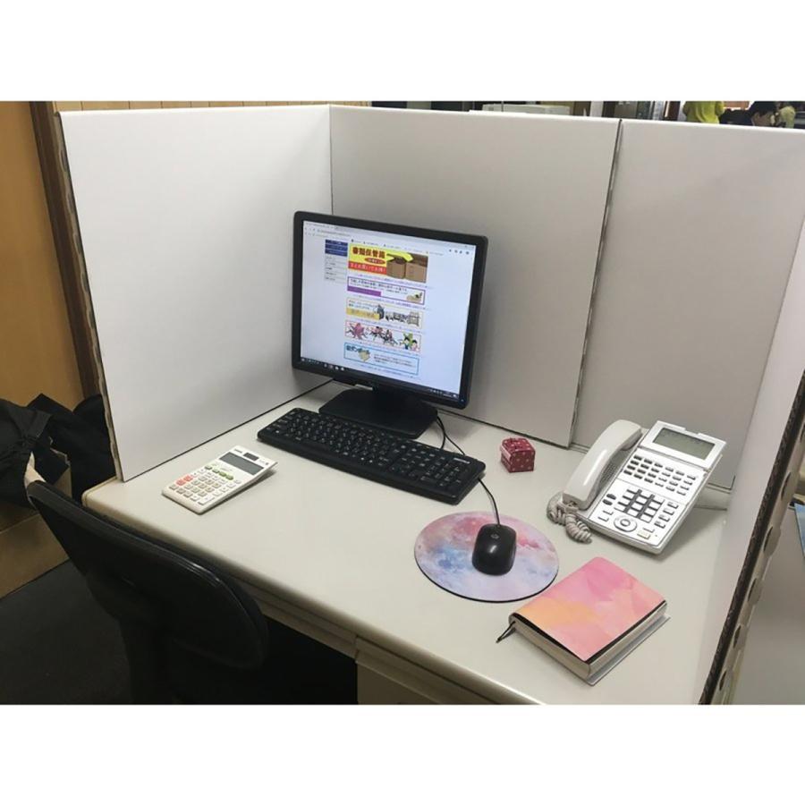 デスク用パーテーション 仕切り 間仕切り オフィス 飛沫感染対策 ダンボール製 2セット(4枚)アフターコロナ ニューノーマル|taisei-dan|02
