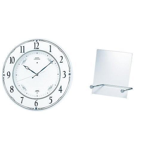 スタンドセットセイコー クロック 掛け時計 電波 アナログ 木枠 白 パール LS230W SEIKO + スタンド ZG201A