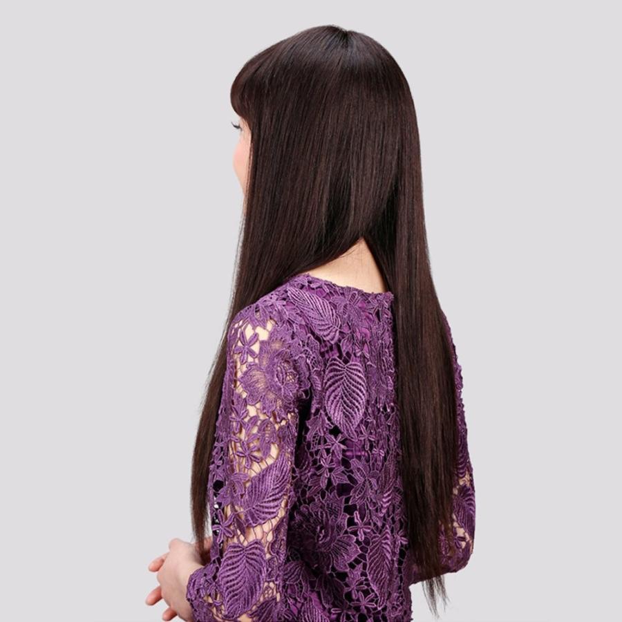 HAIRSW ウィッグ ロング ストレート 空気感 前髪 ぱっつん 女性 人毛100% ナチュラル 手植え フルウィッグ 自然 通気 小顔効