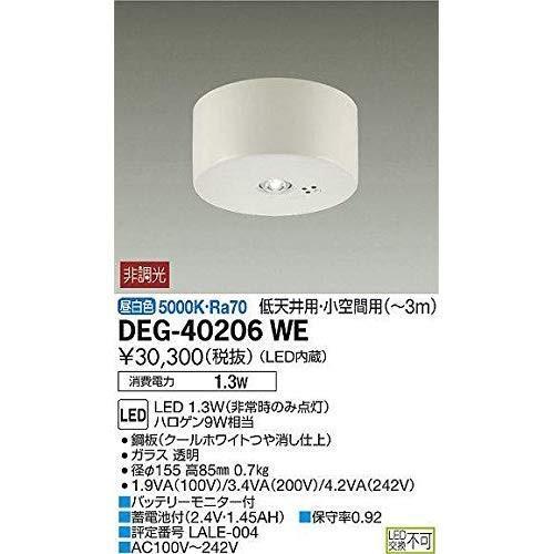 大光電機 非常灯(LED内蔵) LED 1.3W(非常時のみ点灯) 昼白色 5000K DEG-40206WE