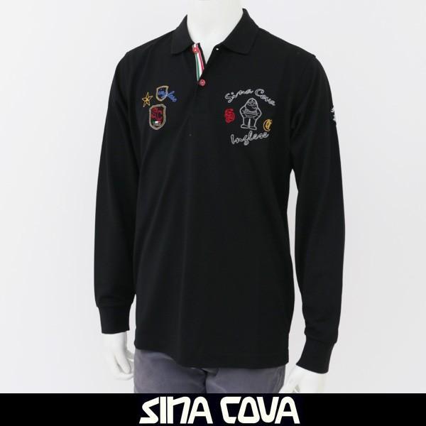 【ファッション通販】 SINA SINA COVA(シナコバ) 190 長袖ポロシャツ COVA(シナコバ) ブラック 17250020 190, 競売:23d0e726 --- chizeng.com