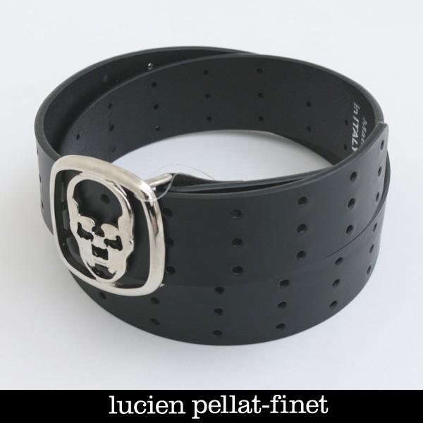 lucien pellat-finet(ルシアンペラフィネ) スカルバックルレザーベルト ブラック BELT37