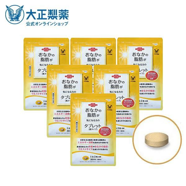 おなかの脂肪が気になる方のタブレット 市販 粒タイプ 1袋 90粒 好評 サプリメント 機能性表示食品 大正製薬 6袋セット