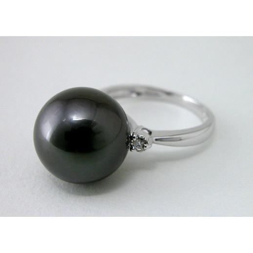 最安価格 Pt 黒蝶パールリング 12.5ミリ珠 ダイヤモンド入り, ヒロガワチョウ 97b1a9e7