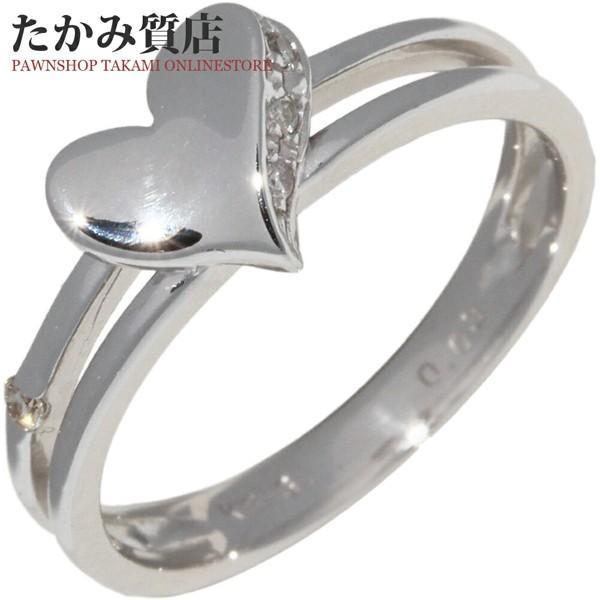 割引 指輪 リング K18WG ダイヤ0.03ct ハート 9号, コスメティックコリア 43408dc9
