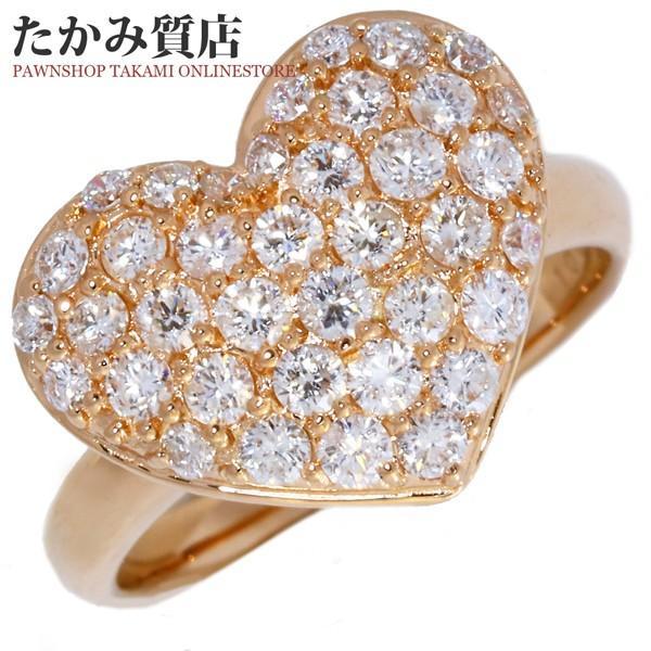 優れた品質 指輪 リング K18PG ダイヤ1.00ct ハート パヴェダイヤ 12号, ハピネスライフケア a5be3994