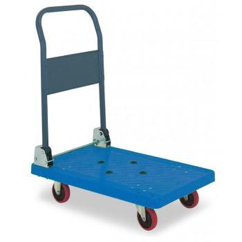 同梱・代引き不可 アイケーキャリー 樹脂製台車 スチール製無音キャスター付 P101NS (折り畳み式ハンドル) ブルー