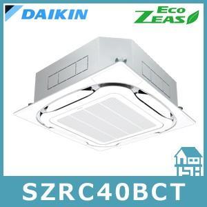 ダイキン 天井埋込カセット形エアコン S-ラウンドフロー・三相200V・P40形(1.5馬力相当)・シングル +リモコン+パネル Eco ZEAS SZRC40BCT
