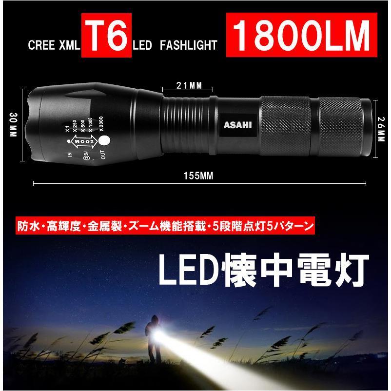 LEDハンディライトASAHI 充電器・18650充電電池付き 市販電池対応単4* 3本アウトドア 防犯 防災  LED懐中電灯 強力 ミニ CREE T6 送料無料|takayama|02