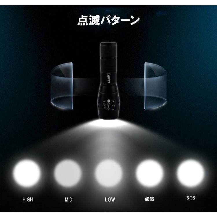 LEDハンディライトASAHI 充電器・18650充電電池付き 市販電池対応単4* 3本アウトドア 防犯 防災  LED懐中電灯 強力 ミニ CREE T6 送料無料|takayama|04
