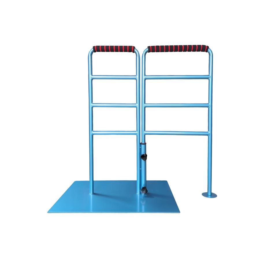 立つ之助 のび太 立ち上がり補助手すり 左右ストレート90度毎に方向延長 スチール素材 ライトブルー 日本製 takei-co