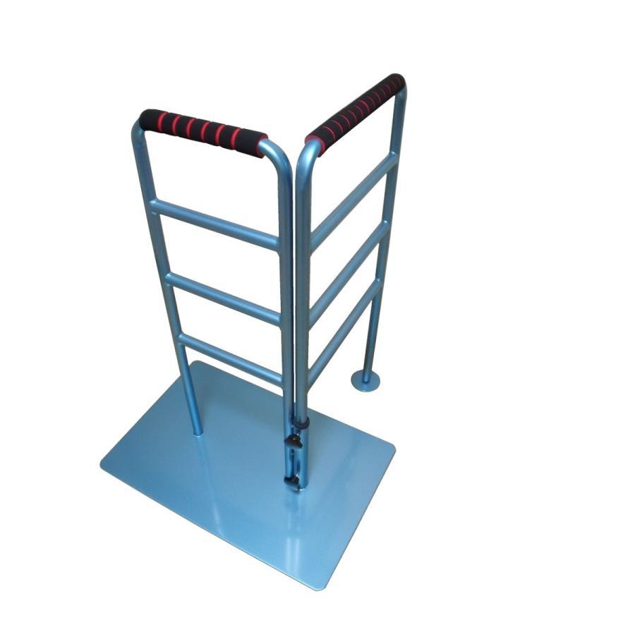 立つ之助 のび太 立ち上がり補助手すり 左右ストレート90度毎に方向延長 スチール素材 ライトブルー 日本製 takei-co 02