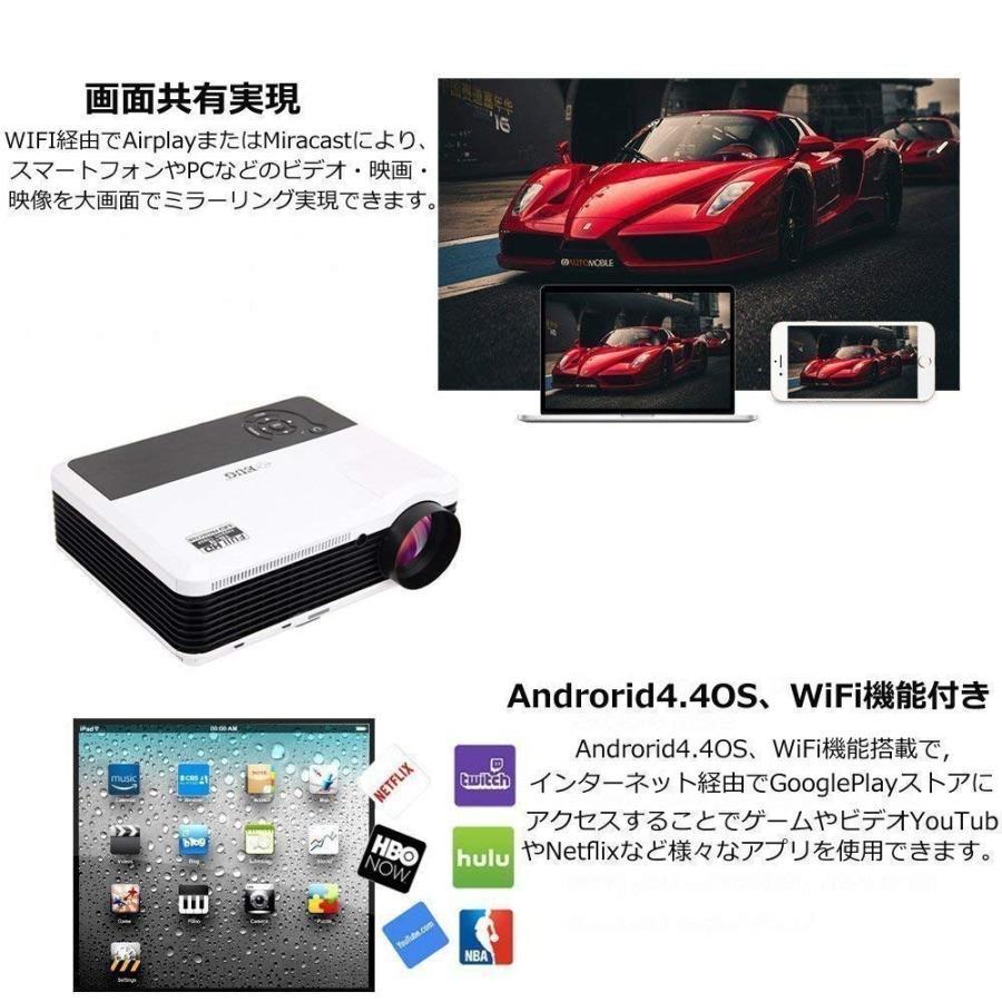 ホームプロジェクター 3900ルーメン LED 無線 Wi-Fiプロジェクター 1080PフルHD対応 1280x800解像度 2*5Wスピ