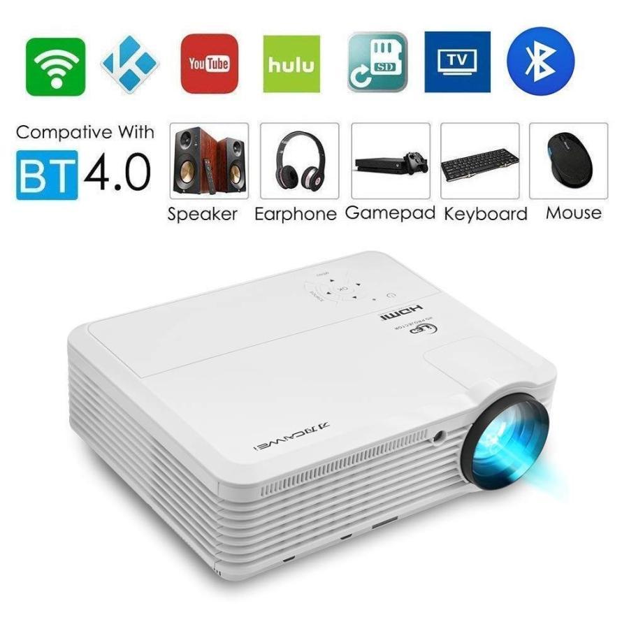 LEDプロジェクター 3900ルーメン ホームシアター 無線 WiFi/Bluetooth接続 ワイヤレス 1080PフルHD対応 スピーカ