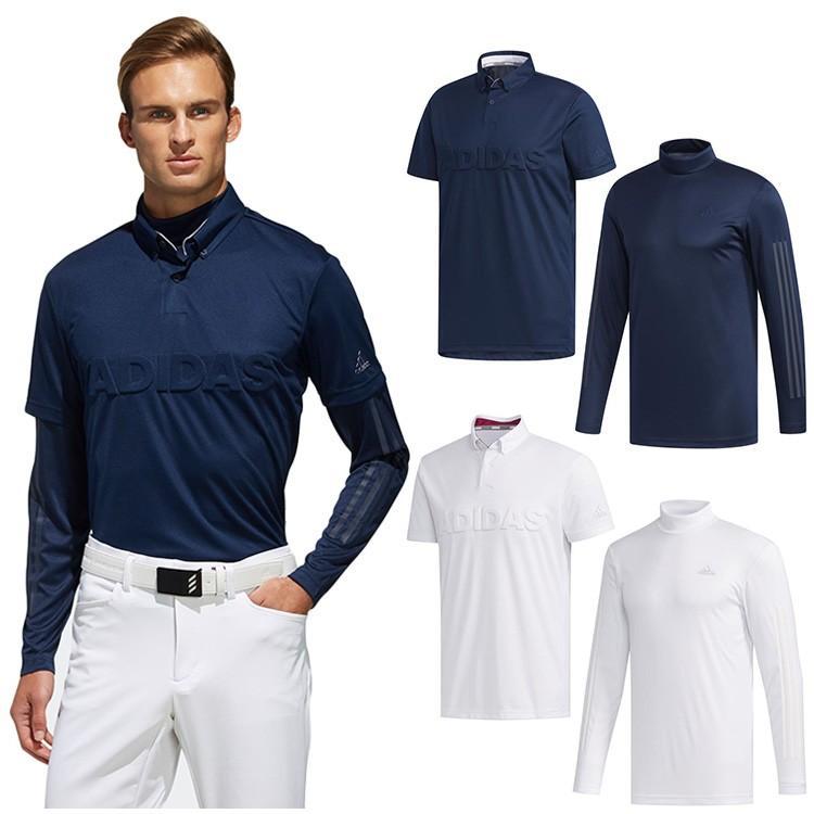 キャッシュレス還元5% アディダス ゴルフ メンズ ウェア ポロシャツ デボスロゴ レイヤード ボタンダウンシャツ FYO93 adidas golf