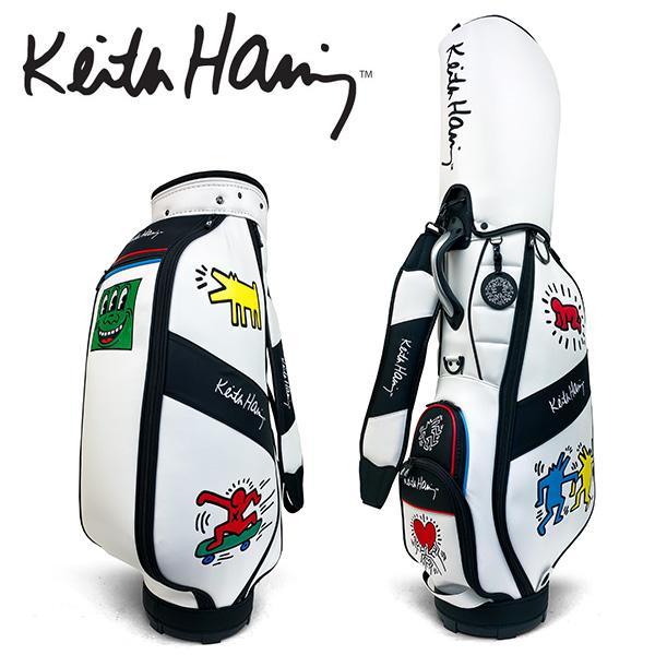 キースヘリング ゴルフ キャディバッグ メンズ キャディバック ●日本正規品● 9.0型 ご予約品 約3.7kg 5分割 47インチ対応 レア 白 ホワイト KHCB-09 Haring Golf キャップ付き Keith