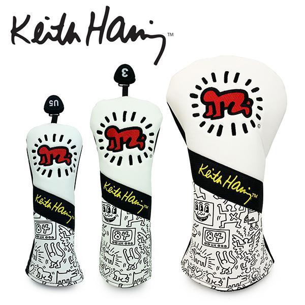 キースヘリング 期間限定の激安セール ゴルフ ヘッドカバー メンズ レディース ドライバー フェアウェイウッド ユーティリティ DR Keith Haring 正規取扱店 ホワイト UT 番手 白 FW KHHC-08 Golf