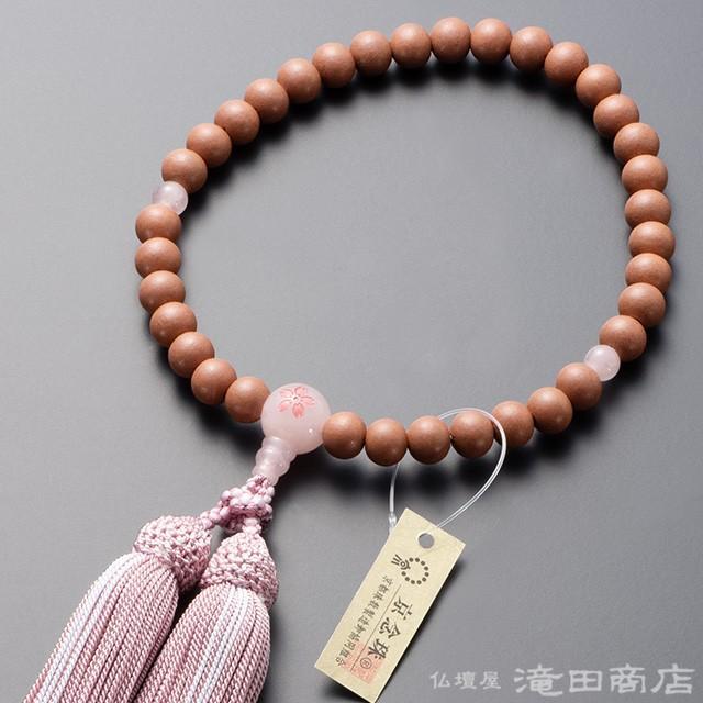 数珠 女性用 紅桜 念珠袋付き 新作送料無料 ファクトリーアウトレット 8mm玉 ローズクォーツ桜彫り