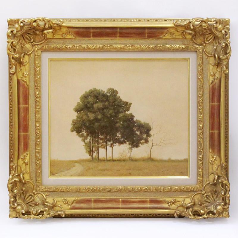 洋画家 森本草介『 木立 』 油彩 額装 8号 写実 リアリズム フランス 風景 サイン有 細密描写
