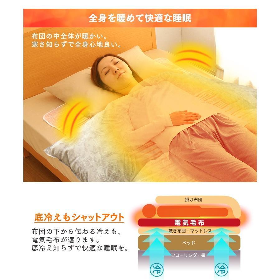 電気毛布 電気しき毛布 敷き毛布 140×80cm EHB-1408-T 丸洗い ダニ対策 ブラウン アイリスオーヤマ takuhaibin 02