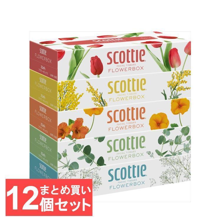 スコッティ ティッシュペーパー フラワーボックス 160組 開催中 5箱×12パック 送料無料 日本製紙クレシア 送料無料カード決済可能 320枚 ティシュー 12個セット