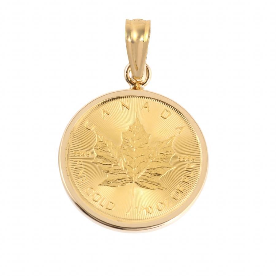 コインペンダントトップ メイプルリーフ金貨 1/10oz 3.65g  18金フレームの純金コイン|takumi-shopping
