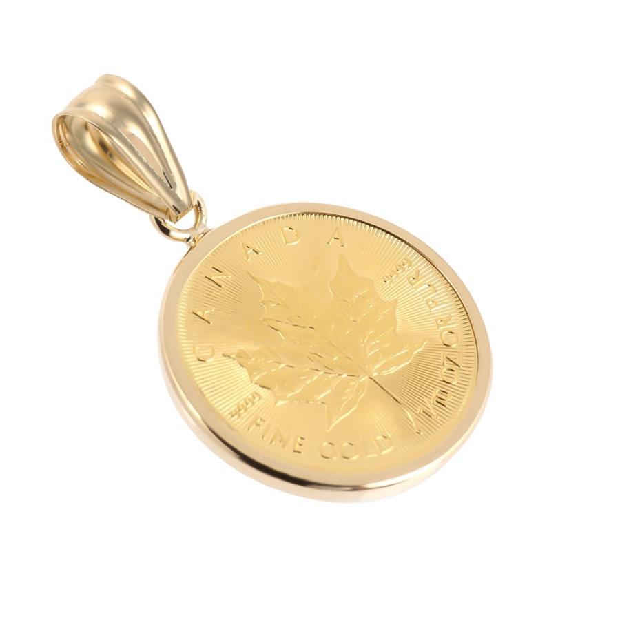 コインペンダントトップ メイプルリーフ金貨 1/10oz 3.65g  18金フレームの純金コイン|takumi-shopping|04