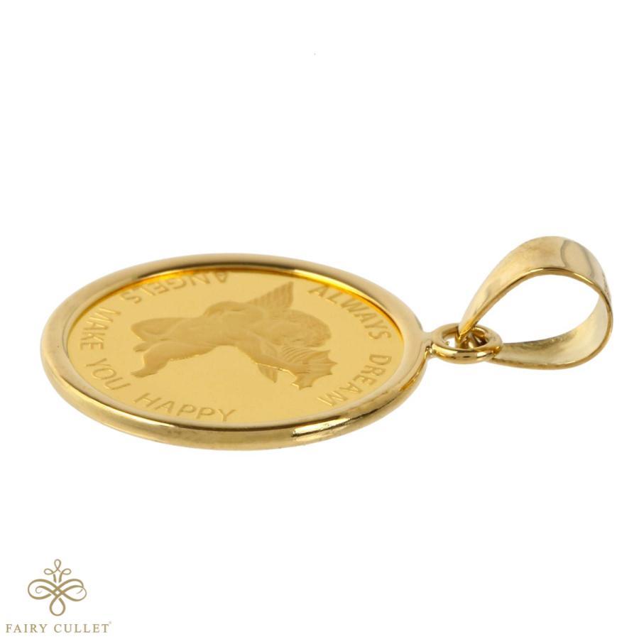 コインペンダントトップ エンジェル金貨(小) 1/25oz 18金フレームの純金コイン|takumi-shopping|05