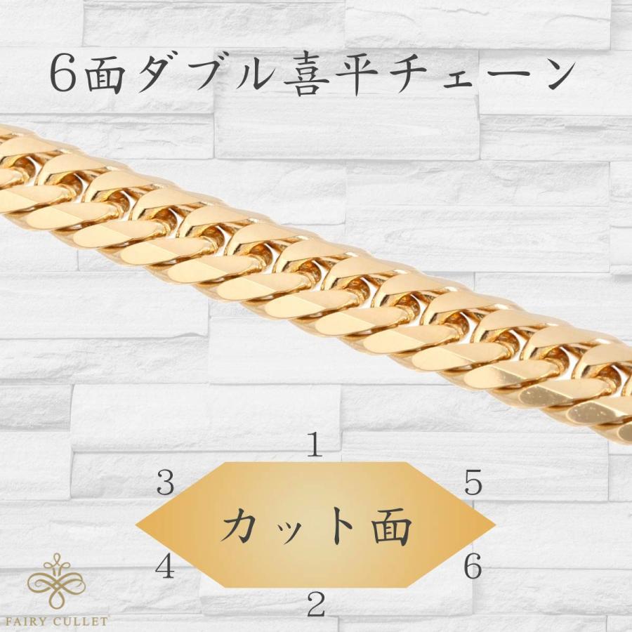18金ネックレス K18 6面W喜平チェーン 日本製 100g 60cm 中留め takumi-shopping 03