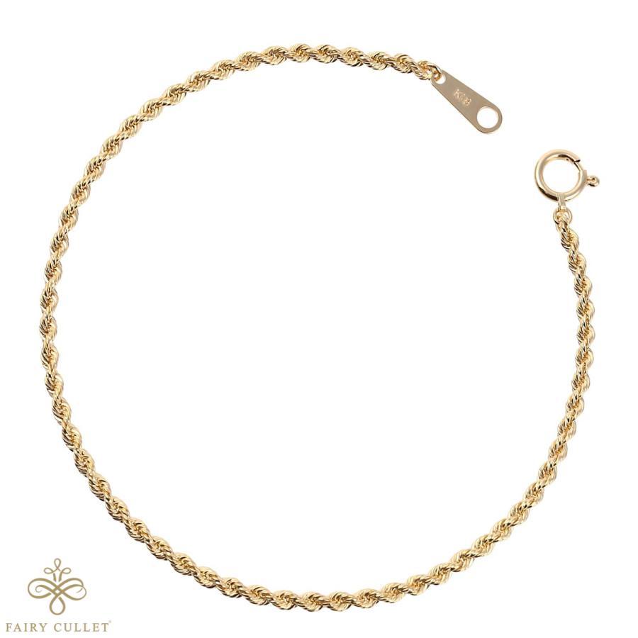 18金ブレスレット K18 ロープ・チェーン 幅2mm 長さ18cm|takumi-shopping|06