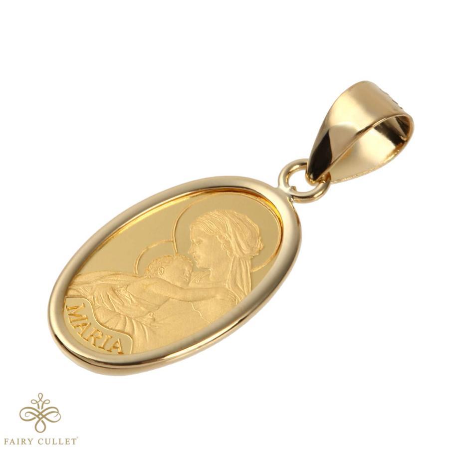 スイスPAMP社製の純金製の聖母マリアプレートと日本製18金フレームのペンダントトップ|takumi-shopping|02
