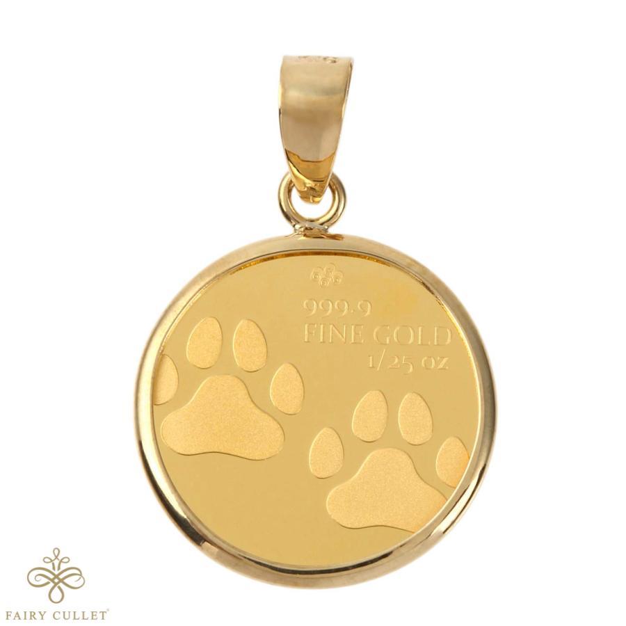 スイスPAMP社製の純金製のキャットコインと日本製18金フレームのペンダントトップ 猫と肉球モチーフ takumi-shopping 02