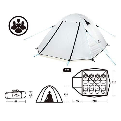 Naturehike公式ショップ テント Pシリーズ 3人用 アウトドア テント 二重層テント 超軽量キャンピングテント (ホワイト, 4人用)