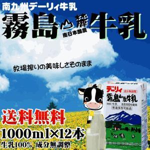 安値 九州 デーリィ霧島山麓牛乳 1L×12本 ロングライフ 常温長期保存可能 生乳100% 送料無料 オンラインショップ milk MILK 成分無調整 無添加