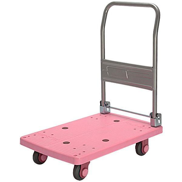 カナツー 静音(セイオン)ピンク台車 PLA150-DX ハンドル折りたたみ式