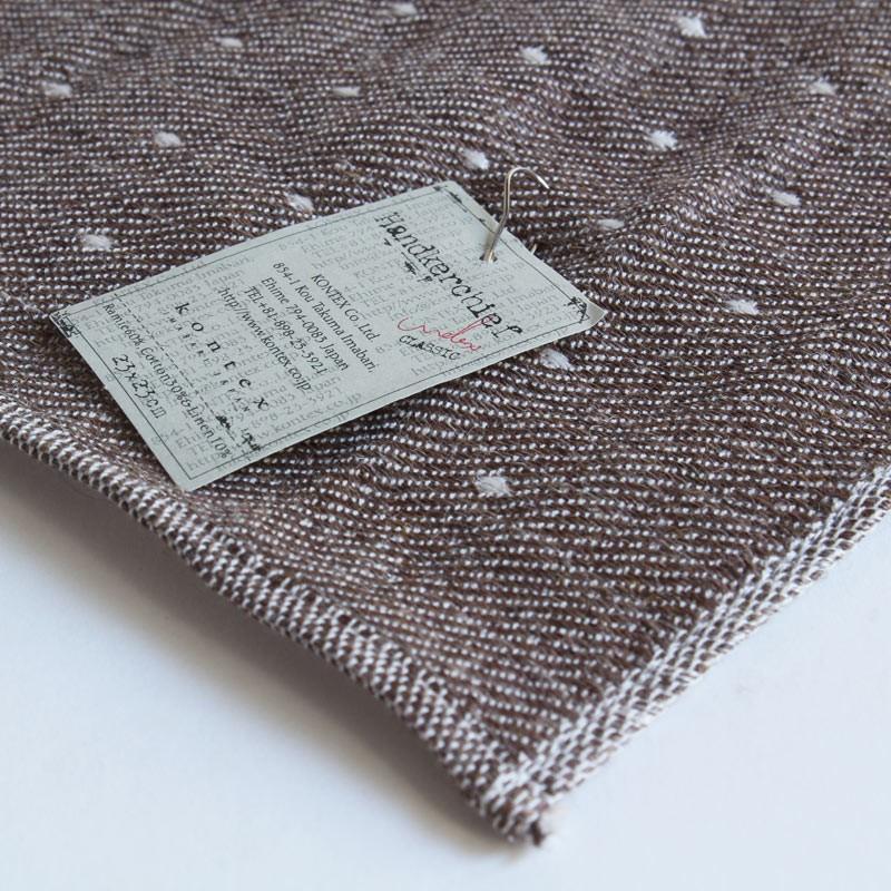 今治タオル コンテックス ハンカチーフ Imabari Towel Kontex Handkerchief ピンドット ブラウン|tanokichi|03