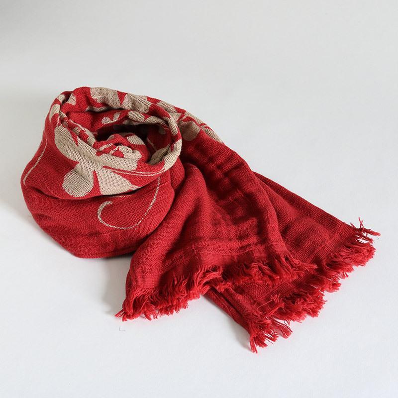 今治タオル コットンマフラー Imabari Towel Cotton Muffler Hana 華 レッド tanokichi