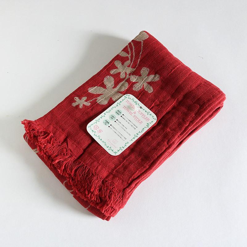 今治タオル コットンマフラー Imabari Towel Cotton Muffler Hana 華 レッド tanokichi 02