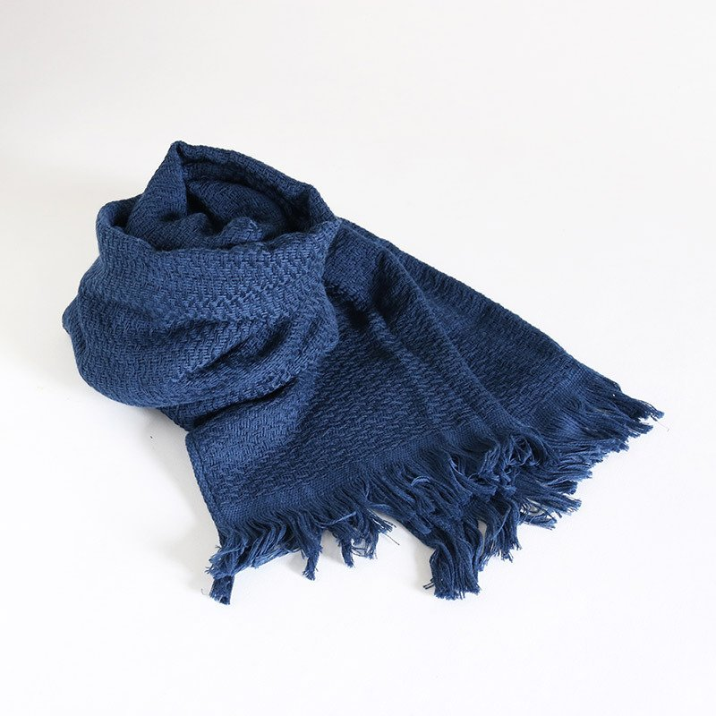 今治タオル コットンマフラー Imabari Towel Cotton Muffler Nami なみ ネイビー tanokichi