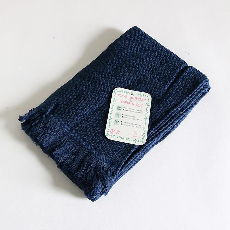 今治タオル コットンマフラー Imabari Towel Cotton Muffler Nami なみ ネイビー tanokichi 02