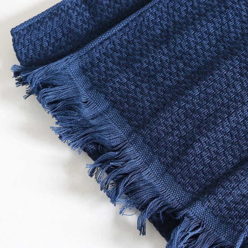 今治タオル コットンマフラー Imabari Towel Cotton Muffler Nami なみ ネイビー tanokichi 03